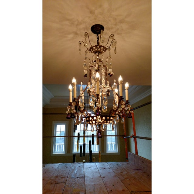 1840s Antique Iron Baguès French Cut Glass Dangles Chandelier For Sale - Image 13 of 13
