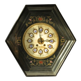 19th Century Antique French Wall Clock From Comte by Bourgoin For Sale