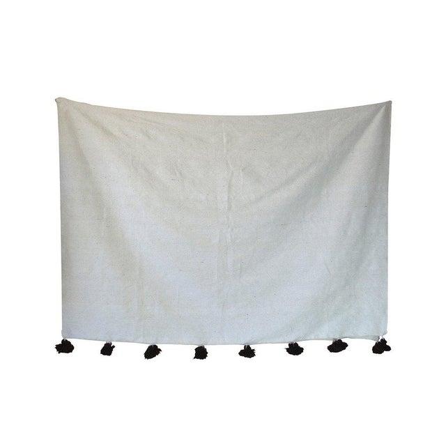Islamic Moroccan Pom Pom Blanket, White With Brown Pom Pom For Sale - Image 3 of 3