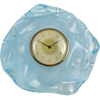 Seguso Vetri d'Arte Murano Blue Pulegoso Bubbles Italian Art Glass Desk Clock For Sale