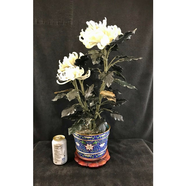 """White Vintage Chinese Chrysanthemum Jade Tree With Cloisonné Pot and Stand - 24"""" Tall For Sale - Image 8 of 12"""