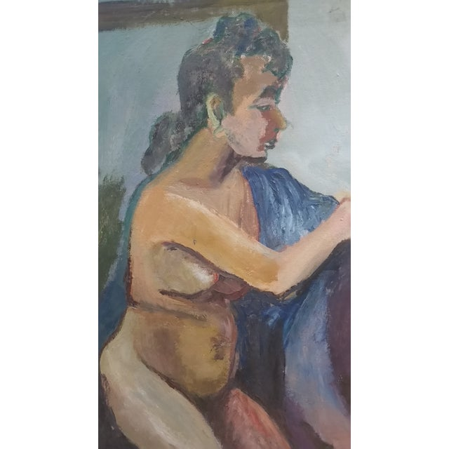 Nude Oil on Board Painting, 1940s - Image 2 of 11