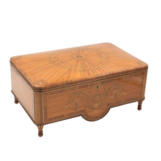 French Directoire Period Satinwood Box With Original Portrait on the Inside Lid, Circa 1790.