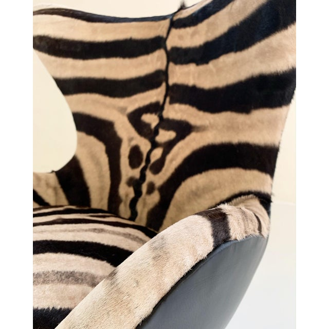 Arne Jacobsen for Fritz Hansen Egg Chair in Zebra Hide and Loro Piana Leather For Sale - Image 11 of 13