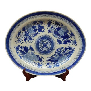 Antique 18th Century Chinese Fitzhugh Blue & White Platter For Sale