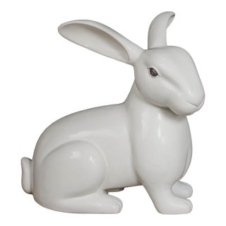 Hand Repousse Rabbit Sculpture in Cream Lacquer by Robert Kuo, Limited Edition For Sale