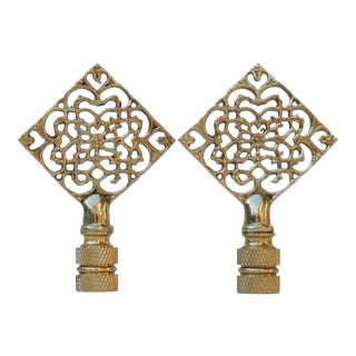 Brass Filigree Lamp Finials - a Pair For Sale