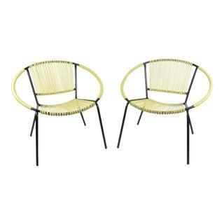 Mid - Century Modern Vinyl Hoop Chairs -A Pair