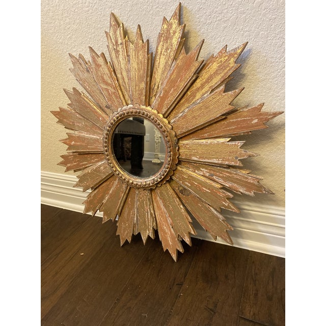 Pair of Italian Sunburst Mirrors With Wood Rays For Sale - Image 4 of 12