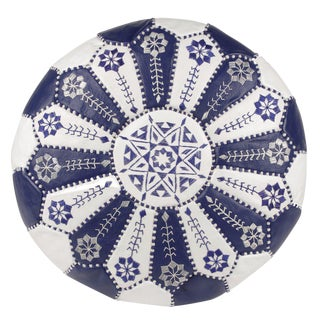 Embroidered Leather Pouf, Royal Blue/White Starburst Stitch For Sale