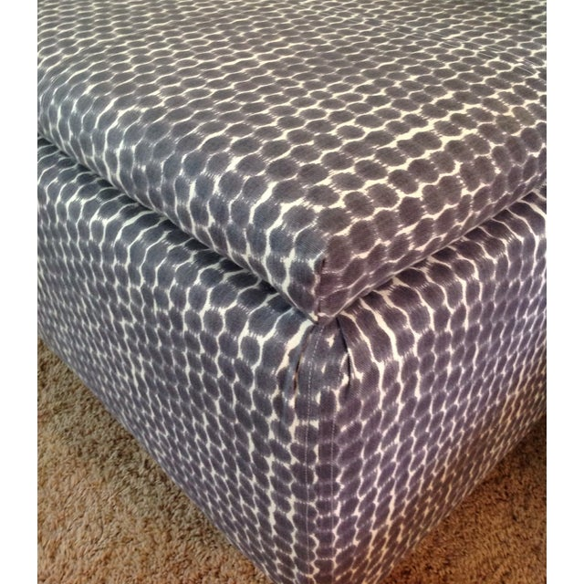 Navy Ikat Storage Ottoman For Sale In Chicago - Image 6 of 6