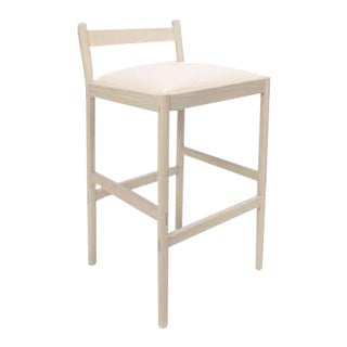 Carob Bar Stool by Sun at Six, Nude Minimalist Stool in Oak Wood and Leather For Sale