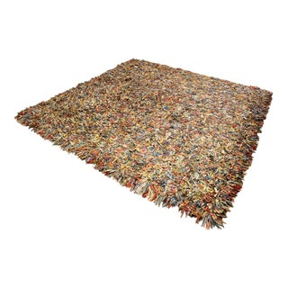 """Contemporary Modern Square Patchwork Leather Area Rug Rug 100"""" Sq 1980s For Sale"""