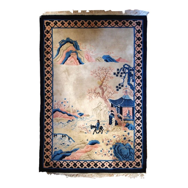 1970s Hand Made Vintage Art Deco Chinese Rug - 4' X 6' For Sale