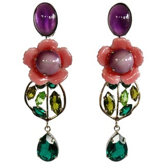 Philippe Ferrandis Pink, Purple, and Green Flower Clip Earrings For Sale