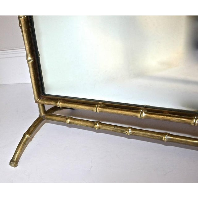 Gold 1950s French Bagues Bronze Bamboo Cheval Floor Mirror For Sale - Image 8 of 11