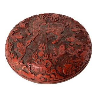 Vintage Dragon and Koi Carved Cinnabar Style Lidded Box For Sale