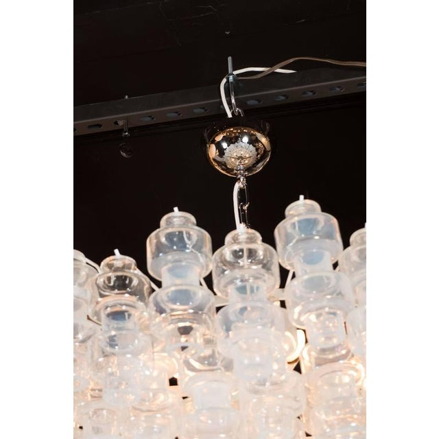 Chrome Modernist Opalescent and Clear Murano Glass Barbell Chandelier For Sale - Image 7 of 10
