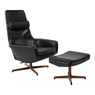 Kofod Larsen Leather Teak Lounge Chair and Ottoman For Sale