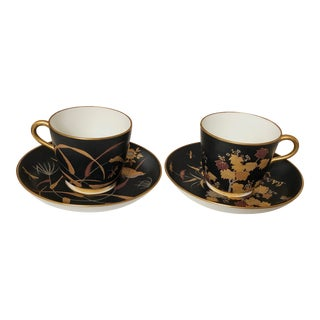 Continental Japonisme Cups and Saucers, Pair For Sale