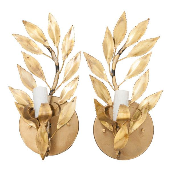 "French Vintage Gilt-Brass Single-Arm ""Laurel Leaf"" Sconces - a Pair For Sale - Image 9 of 9"