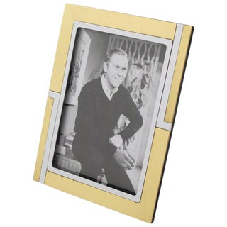 Italian Noel Bc Modern Chrome and Brass Picture Photo Frame For Sale