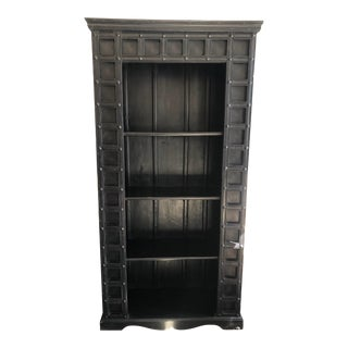 Vintage Rustic Bookcase With Nailhead Details For Sale