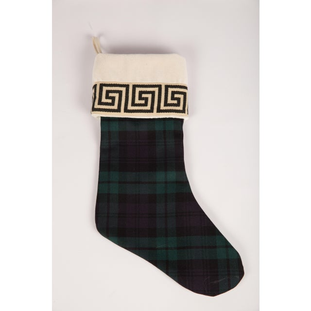 English Traditional Black Watch Wool and Greek Key Christmas Stocking For Sale - Image 3 of 5