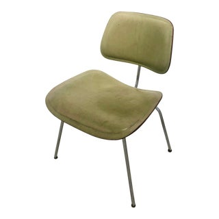 Vintage Mid Century Charles and Ray Eames Green Leather Dcm Chair For Sale