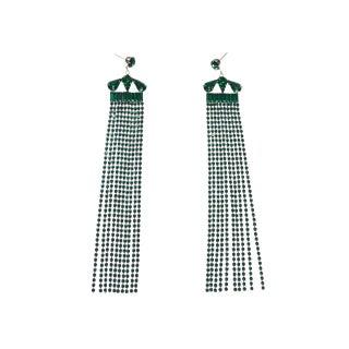 Emerald Fringe Earrings For Sale