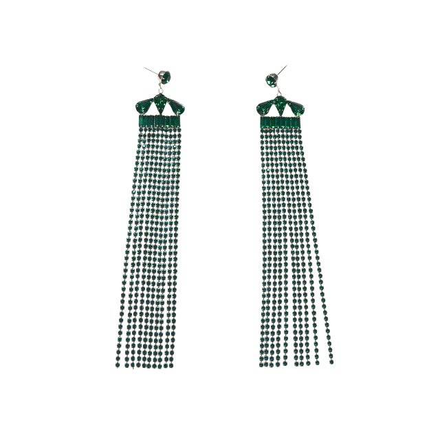 Emerald Fringe Earrings For Sale