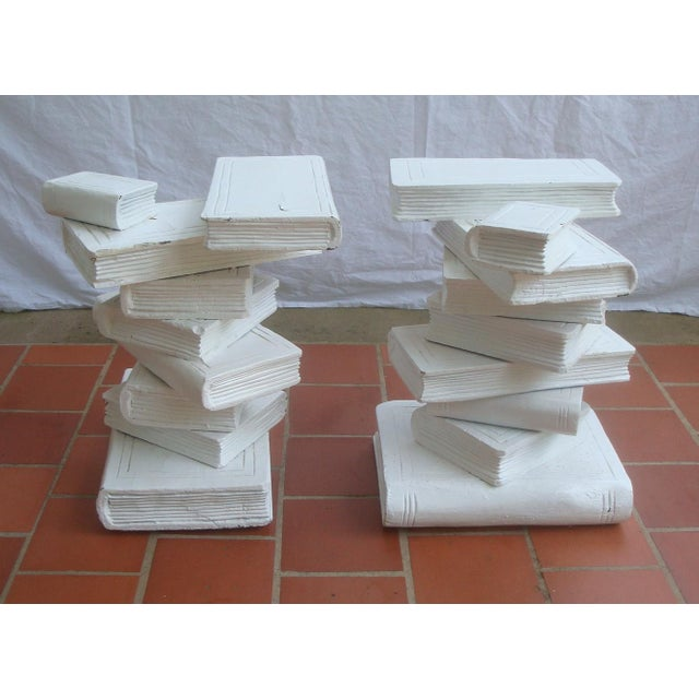 Wood Trompe l'Oeil Stacked Library Book Pedestals for Side Tables, Coffee Table or Bench, a Pair For Sale - Image 7 of 7