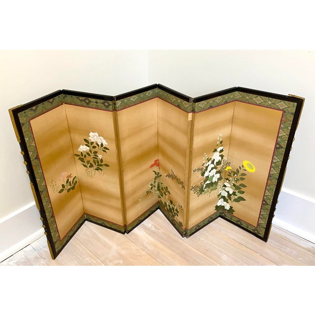 19th Century Japanese Byobu 6-Panel Table Screen With Summer Flowers For Sale - Image 13 of 13