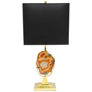 Willy Daro Table Lamp Brass and Agate For Sale