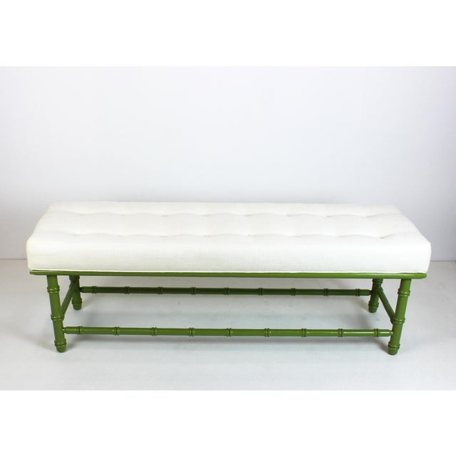 Mid Century Faux Bamboo Green Bench For Sale - Image 11 of 11
