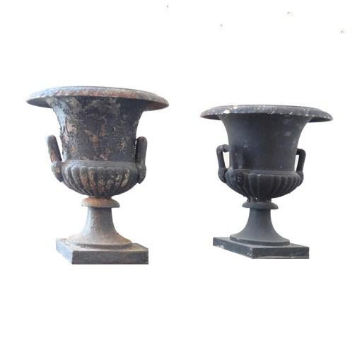 Pair of Black Iron Urns on Pedestals - Image 6 of 6