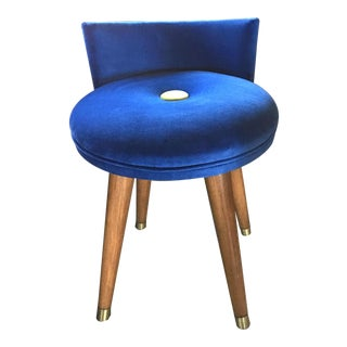 Mid-Century Modern Swivel Blue Velvet Vanity Chair For Sale