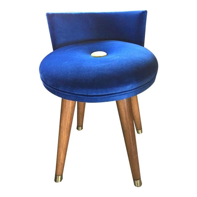 Mid-Century Modern Swivel Blue Velvet Vanity Chair For Sale
