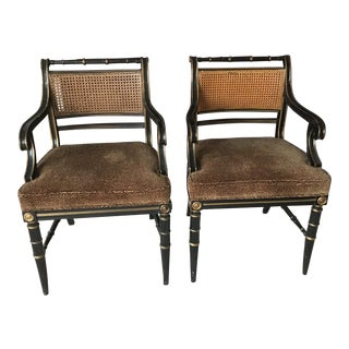 1970s Vintage Drexel Heritage Cane Back Accent Arm Chair For Sale