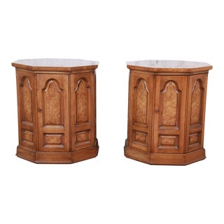 Mastercraft Mid-Century Hollywood Regency Burl Wood Cabinet Side Tables, Pair For Sale