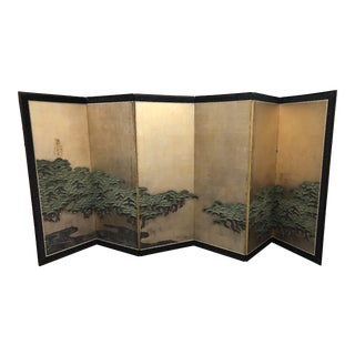 Japanese Antique Six Panel Folding Screen Hamatsu: Coulds & Pines, Meiji Period For Sale