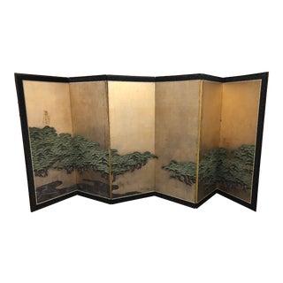 Japanese Antique Six Panel Folding Screen Hamatsu: Coulds & Pines, Meiji Period