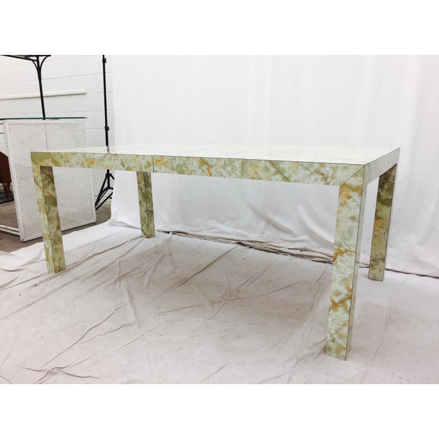 Mid-Century Modern Vintage Mid-Century Modern Faux Marble Parsons Table For Sale - Image 3 of 9