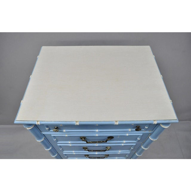 Thomasville 20th Century Chinese Thomasville Allegro Faux Bamboo 7-Drawer Blue Painted Tall Lingerie Chest For Sale - Image 4 of 11