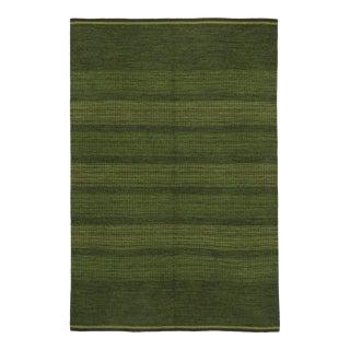 Scandinavian Modern Swedish Kilim Rollakan, Green Flatweave Kilim Rug
