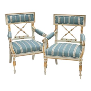 Pair of Empire-Style Armchairs For Sale
