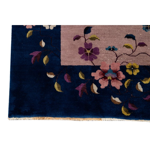 Antique Rose Chinese Art Deco Wool Rug 8 Ft 9 in X 11 Ft 8 In. For Sale - Image 11 of 12