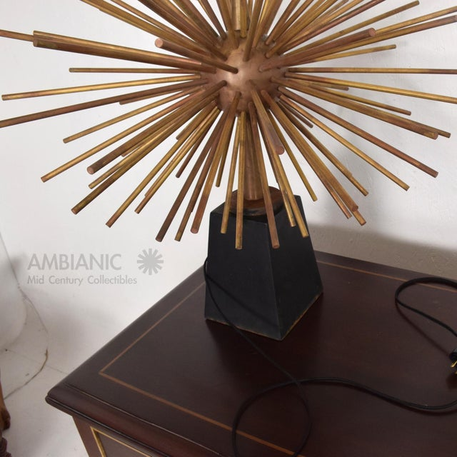 1960s Pair of Mid-Century Mexican Modernist Pani Starburst Brass Table Lamps For Sale - Image 5 of 10