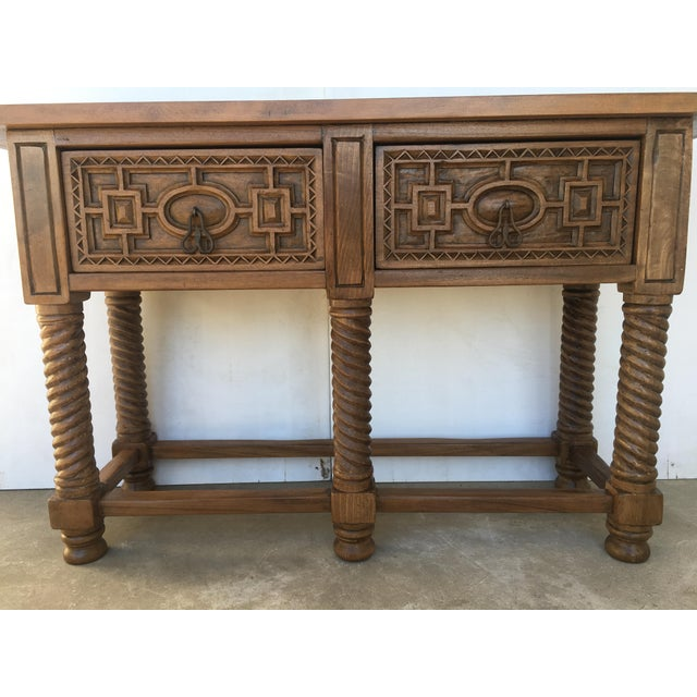 Early 19th Century Carved Walnut Wood Catalan Spanish Console Table For Sale - Image 12 of 13