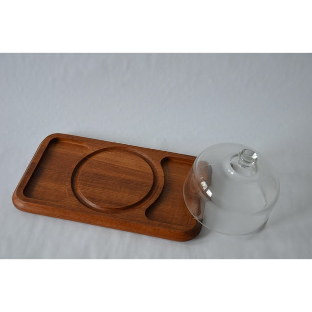 Mid-Century Danish Modern Glass Domed Teak Cheese Serving Board For Sale - Image 4 of 9